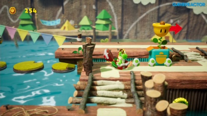 Yoshi's Crafted World - Gameplay: Ride the River