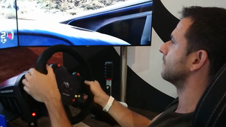David trying some racing sims